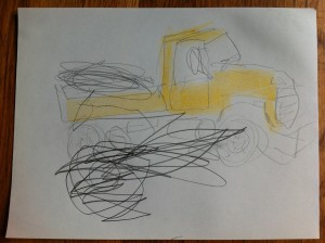 Yellow dump truck sketch