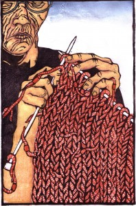 "Knitting Her Fear (Knitting Worms), 2005, 18x12"", water-based woodcut."