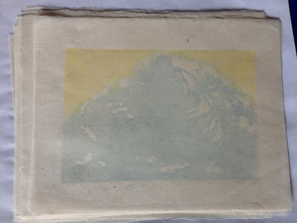 1st layer yellow and blue snow mountain
